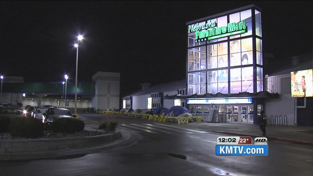 Shoppers Camp Out At Nebraska Furniture Mart For Black Friday Deals