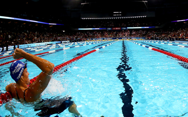 dara torres celebrates after she competed in the second semi final heat of the womens 50 m freestyle during day seven of the 2012 us olympic swimming - Olympic Swimming Pool 2012