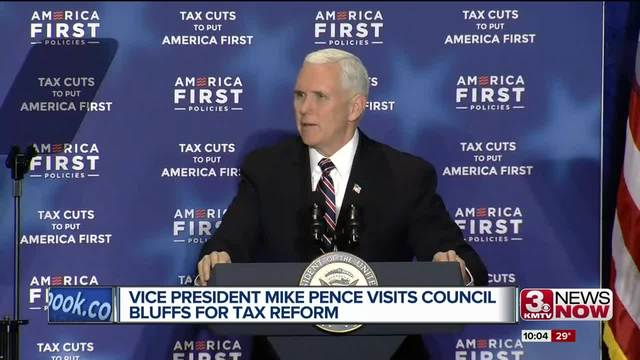 Pence touts tax law in Iowa, campaigns for Nebraska governor