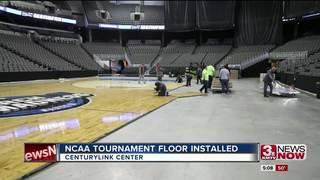NCAA tournament floor installed