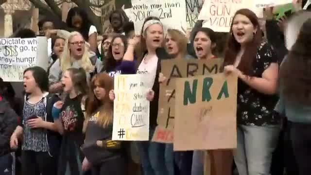 Students at Iowa Park High School participate in National School Walkout