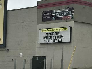 Dino's Storage sign near church sparks backlash