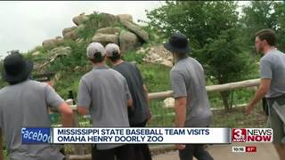 Mississippi State baseball team visits Omaha Zoo