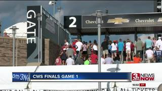 Fans celebrate first game of the CWS Finals