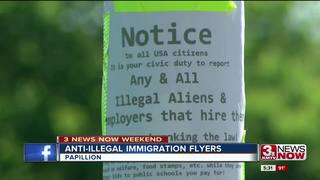Anti-illegal immigration flyers in Papillion