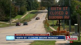 108th St. closure begins Monday
